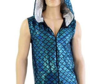 Mens Sleeveless Turquoise Dragon Scale Zipper Front Top with Silver on White Shattered Glass Hood Lining & Spikes -154300