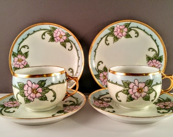 AKD France Limoges Cups, Saucers and Dessert Plates with Pink Hand Painted Flowers & Gold Trim. Tea Set. Bridal Shower Gift and Decor.