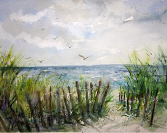 Beachscape, Print Of Original Watercolor Landscape Painting, watercolor art, seascape painting, beach shore, sand dunes, summer painting.