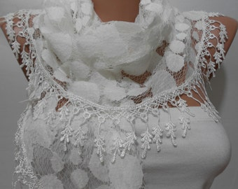 Lace Scarf White Scarf  Fashion Accessories Lightweight   Scarf   Gift  White Wedding Scarf  Holiday Gift For Women Gift For Her Women Scarf