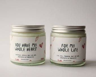My Whole Heart For My Whole Life Soy Candle | Gift for Fiance, Gift for Boyfriend, Gift for Groom. Personalised Gift
