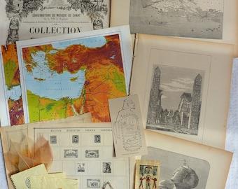 Vintage Egypt set / vintage paper bundle / vintage ephemera