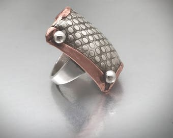 Sterling and copper square statement ring size 9