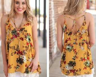 SUPER STYLISH Gold Floral Lace Trim Tunic for Women | Must-Have for Spring and Summer!