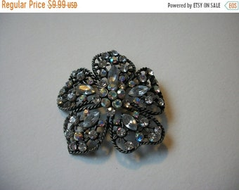 ON SALE Stunning Vintage Oversized Silver Tone AB Crystals Brooch 426