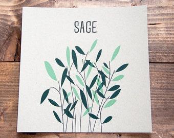 """Sage Kitchen Letterpress Print - 8"""" x 8"""""""