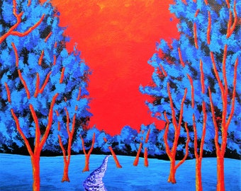 """Twilight Woods (ORIGINAL ACRYLIC PAINTING) 8"""" x 10"""" by Mike Kraus - art mother's day gift trees forest woods nature decorations orange blue"""