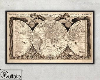 World map print - World map - Antique world map - World map poster - Old World Map, 025