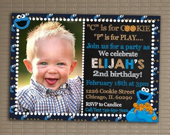 Cookie monster birthday invite cookie monster invitation cookie monster invitation you print invitation sesame street birthday invitation sesame street invite filmwisefo Gallery
