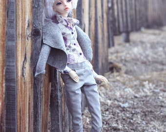 Outfit floral blouse & grey pants for Doll Chateau KID  k-7/k-11 body