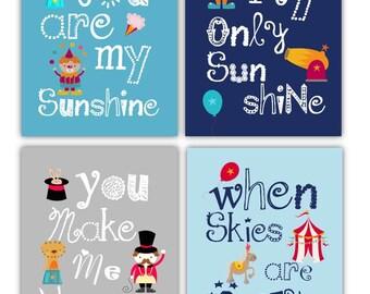 Circus Nursery Decor // You Are My Sunshine Art // Circus Wall Art for Kids // Circus Decor // Circus Art Prints // 4-8x10 PRINTS ONLY