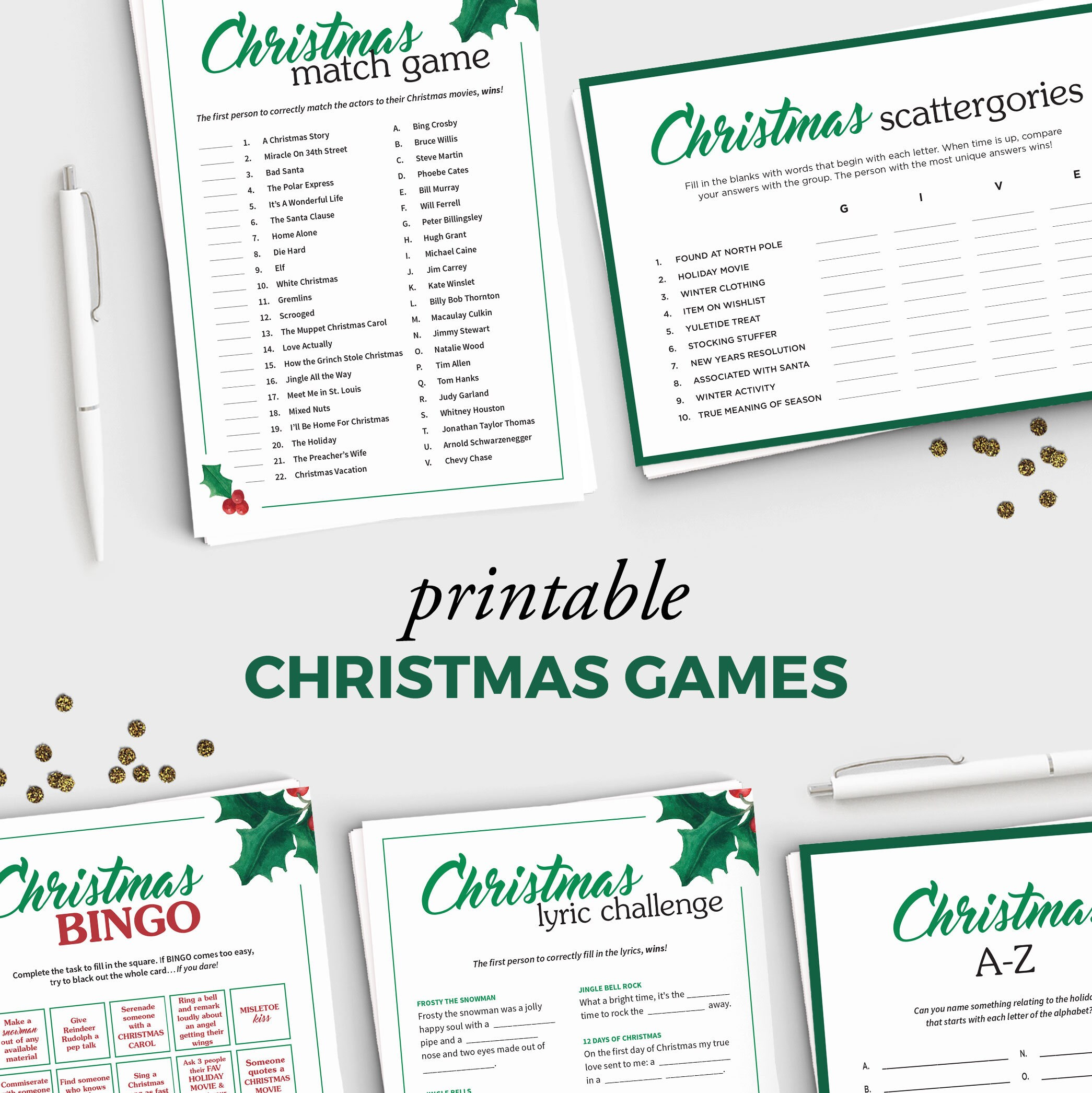 5 Fun Holiday Party Games for Adults Printable Christmas