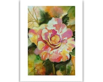 Claude Monet Rose Painting, Original Art, Original Watercolor Painting, Contemporary Art Painting Floral Art Botanical Art by Tatjana Ruzin
