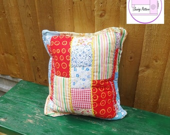 Quilted Pillow Pattern, easy sewing pattern, quilt block pdf, envelope back cushion, pillow sewing pattern, quilt pdf pattern, patchwork