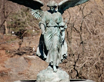 Central Park Angel Print, NYC Photography, New York Architecture Aqua, Guardian Angel Art, Central Park Photography, NYC Art Print Verdigris