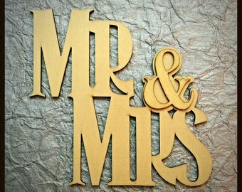 Mr. & Mrs. Laser Cut Out of Wood