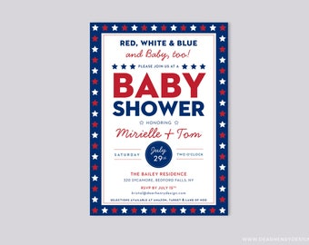 Red White Blue and Baby Too Baby Shower Invitation, 4th of July Invite, BBQ Couples Shower, Summer Patriotic Stars Flag Independence