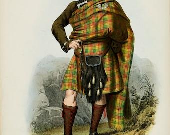 Clan Buchanan Art Print ~ Scottish Highlander ~ Traditional Tartan and Arms ~ 19th Century Art ~ Scotland