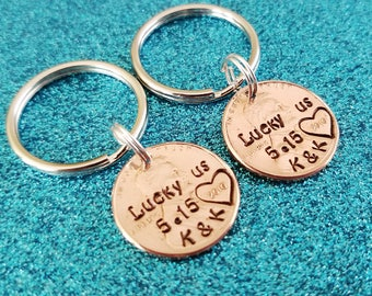 Lucky Us Penny Keychains - 1 year anniversary, 7 year anniversary gift, Couples keychains, anniversary gift for husband, Couples Gift