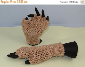 HALF PRICE SALE Instant Digital File pdf download knitting pattern - Beaded Easy Lace Short Finger Gloves pdf download knitting pattern