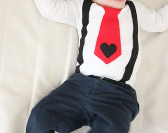 Mothers Day Baby Outfit Boy Onesie Suspender and Tie Mom Baby Cute baby Boy