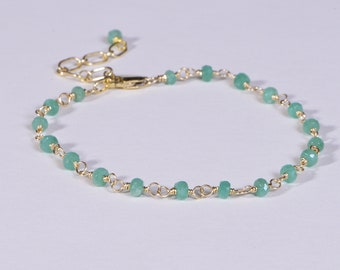 Colombian Emerald Bracelet Genuine 14K Gold Gemstone Jewelry Delicate Bracelet
