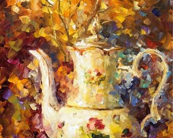 "Still Life Fine Art Teapot Painting On Canvas By Leonid Afremov - 5 O'clock Tea. Size: 20"" X 30"" Inches (50 cm x 75 cm)"
