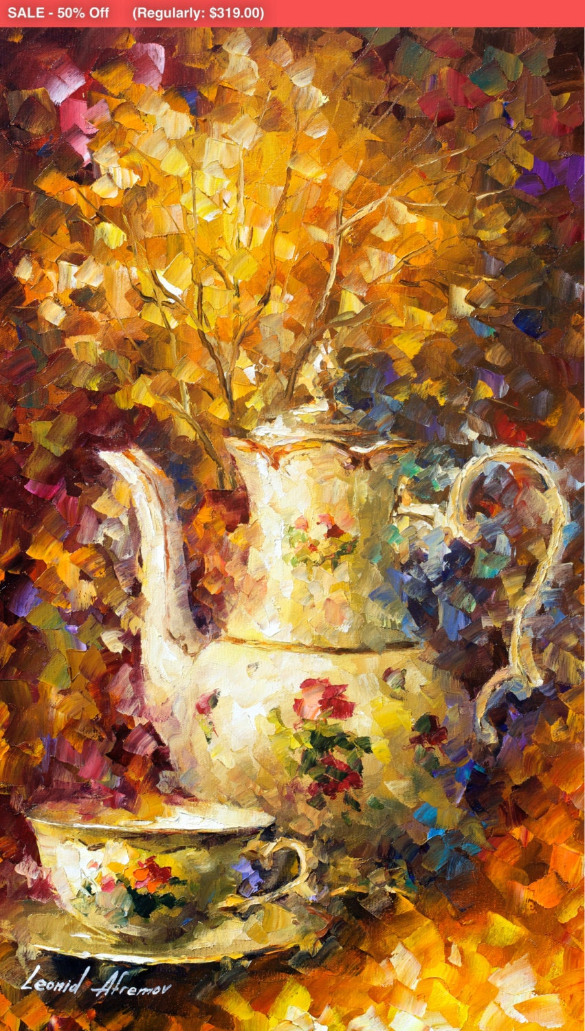 Still Life Fine Art Teapot Painting On Canvas By Leonid