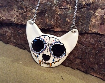 Handmade ceramic 'day of the dead' cat necklace