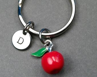 Apple keychain, Red apple keychain, red apple charm, apple keychain, fruit keychain, personalized gift, personalized keychain, initial charm