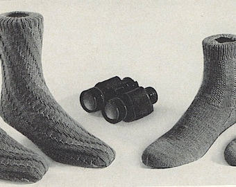 Vintage Sock Pattern - No Heel Spiral and Seed Stitch - JPG 852 853