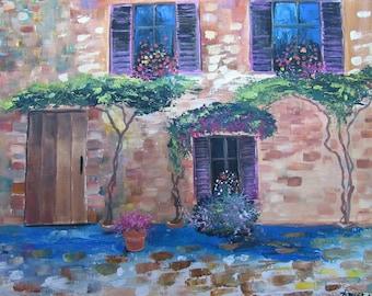 Front door - Original acrylic painting - FREE SHIPPING