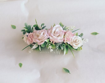 Pale pink and off white hair piece, ivory and blush pink flowers hair clip, greenery hair accessories, floral hair vine, hair comb