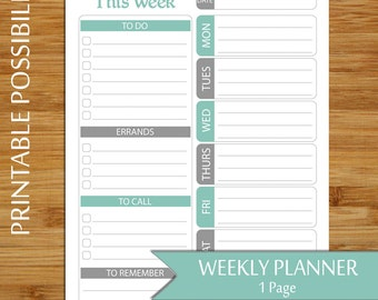 Weekly Planner Page - Printable Week at A Glance Planner - Green and Gray - To Do List  - Weekly To Do List, Errands List - 8.5 x 11