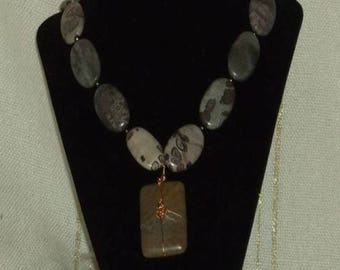 Hand Crafted Spotted Jasper Wire Wrapped Necklace