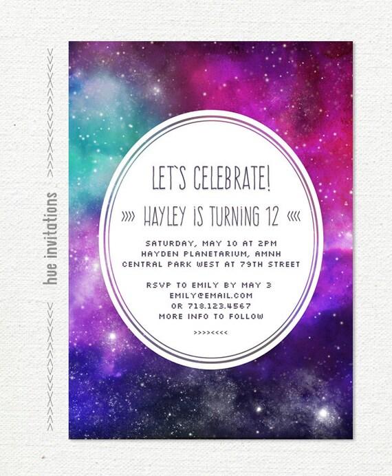 Space birthday invitation girls 12th birthday party galaxy filmwisefo