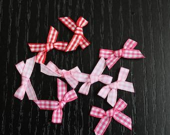 5 pink gingham Plaid ribbon bow
