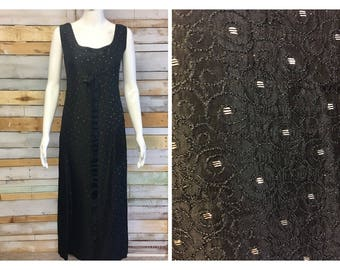 Beautiful hand made black and gold empire line 1960's gown