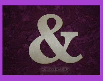 """Ampersand Unfinished Wood Letter & Symbol Wooden Letters 6"""" Inch Tall"""