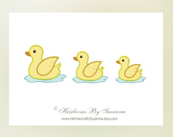 Rubber Ducky Machine Applique Design - Baby Ducks Machine Embroidery - Nursery Design - Children Design - 3 Sizes - Baby Applique