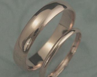 Gold Wedding Ring Set~Plain Jane Set~Men's Wedding Ring~Women's Wedding Ring~Gold Wedding Bands~5mm Band~2mm Ring~Simple Rings Set~14K Gold