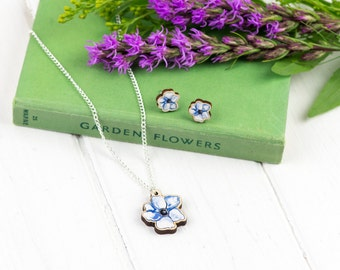 Anenome Flower Necklace and Earring set