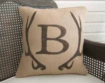 Deer Antler Monogram Pillow  - Burlap Pillow - Antler Decor - Burlap Monogram Pillow - Fall Decor - Personalized