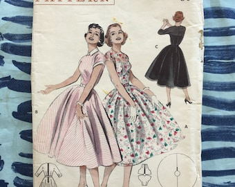 RARE 1950's Butterick Sewing Pattern 6979 Misses Circle Skirt Dress with Fitted Top and Belt Size 16 uncut- 1950s pattern, 1950s dress