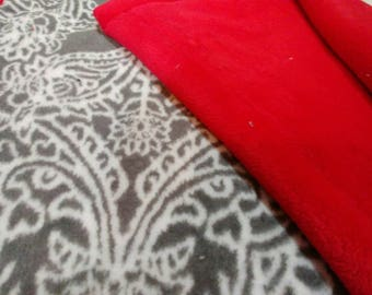 Grey Print with Red Minky Baby Blanket