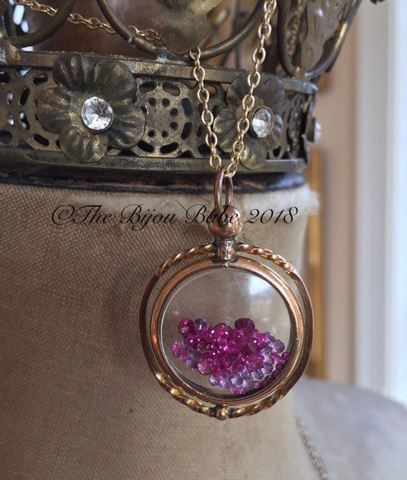 Antique Shake It Locket Ruby Amethyst and Rhodolite Garnet Shaker Locket