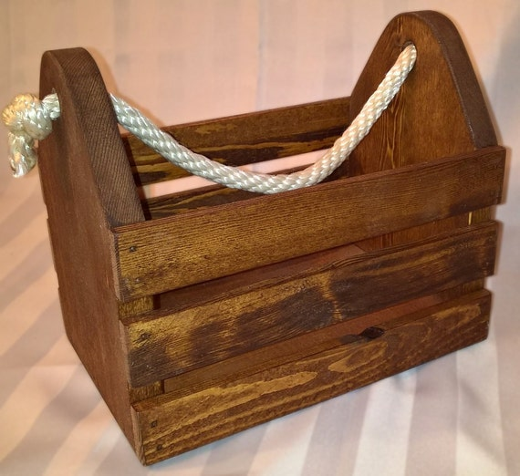 Wood storage box with rope handle garden tote beer caddy