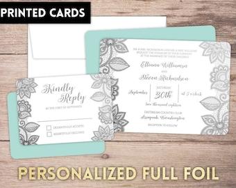 Foil Wedding Invitations, Full Foil Wedding Invitations, Personalized, Wedding Invites, lace blossoms