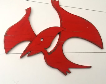 Pterodactyl Dinosaur Decor Nursery Decor Dino Sign Flying Kids Bathroom Wall Art Bedroom Decor