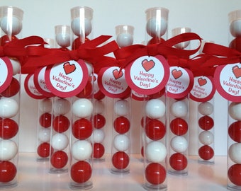 Valentine's Day Gumball Tube Party Favors, Set of 12, with Tags & ribbon